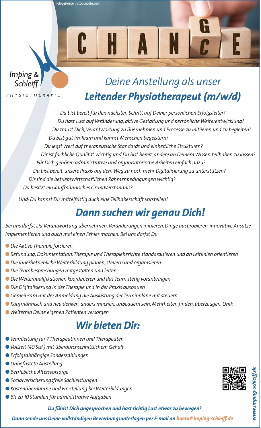 Leitender Physiotherapeut (m:w:d)